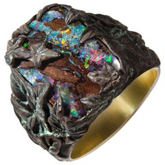 Opal Ring Ivy Oxidised Silver Gold Plated Mens Unisex Fine Jewelry Christmas Art