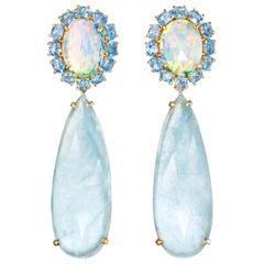 Joon Han Opal Rose Cut Aquamarine Blue Topaz Diamond 18 Karat Gold Drop Earrings
