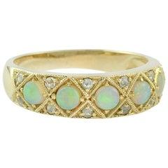 Opal Rose Cut Diamond 18 Karat Cocktail Ring