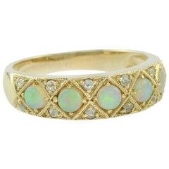 Opal Rose Cut Diamond Cocktail Ring