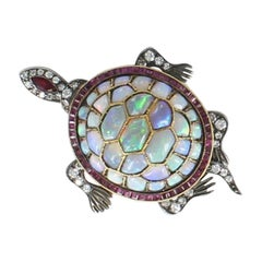Opal Ruby and Diamond Turtle Brooch