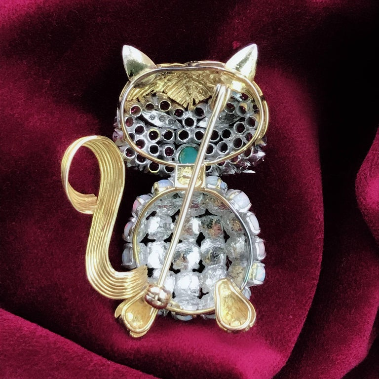 Arts and Crafts Opal Ruby Diamond and Turquoise Cat Brooch For Sale