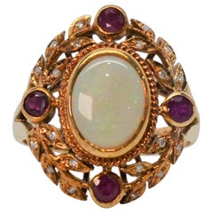 Opal Ruby Diamond Edwardian Style Yellow Gold Ring