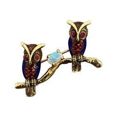 Opal Ruby Enamel Owl Gold Pin-Brooch