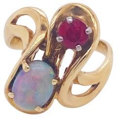 Opal & Ruby Freeform Ring 14k Yellow Custom Ring Design October July Birthstone