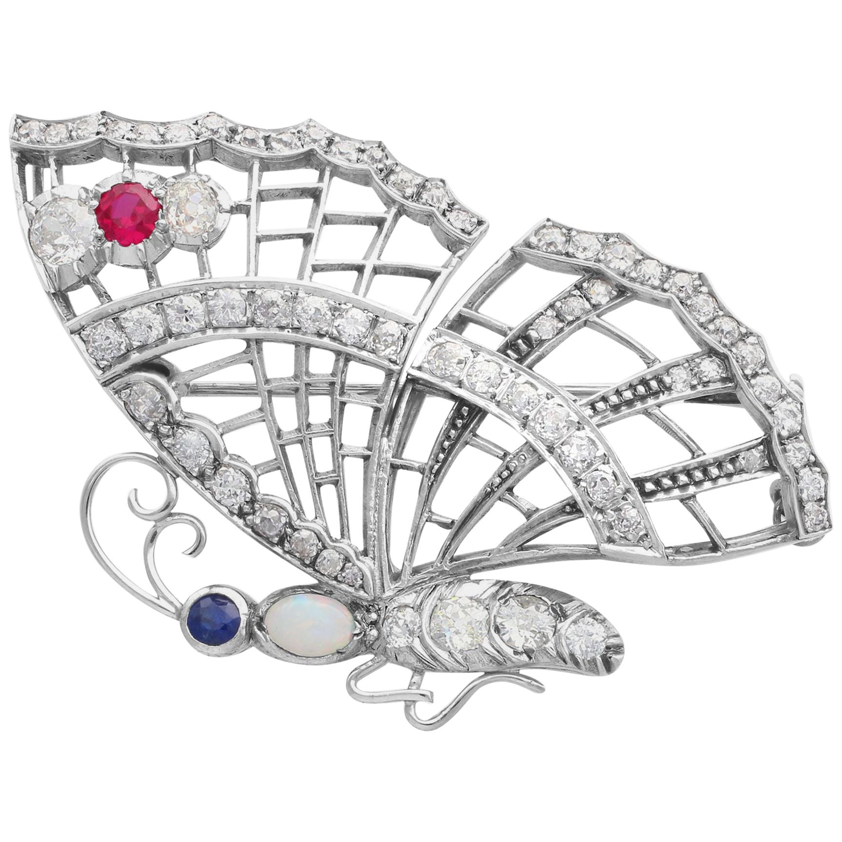 Opal, Ruby, Sapphire and 3.50 Carat Diamond Butterfly Brooch