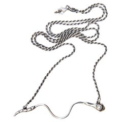 White Diamond Ruby Snake Necklace Italian Silver Chain J Dauphin
