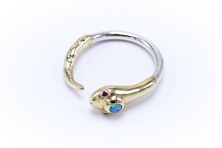 Opal Ruby Snake Ring With Head and Tail in 14k Yellow Gold and White Gold Adjustable Cocktail Ring Victorian Style J Dauphin   J DAUPHIN