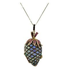 Opal Ruby Strawberry Pinecone Locket Pendant Enamel Pink Gold MidCentury