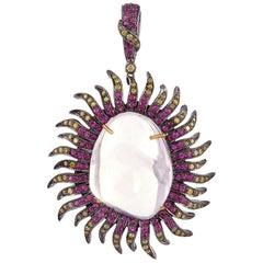 Opal Ruby Sun Diamond Pendant Necklace
