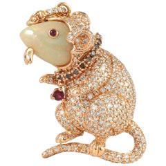 Opal, Ruby with Brown Diamond Mouse Brooch Set in 18 Karat Rose Gold Settings