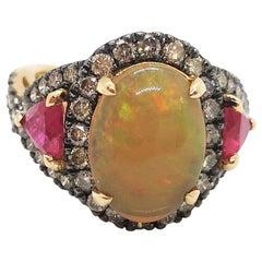 Opal, Ruby with Brown Diamond Ring Set in 18 Karat Rose Gold Settings
