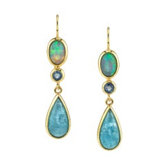 Opal, Sapphire and Aquamarine Cabochon 18 Karat Yellow Gold Earrings