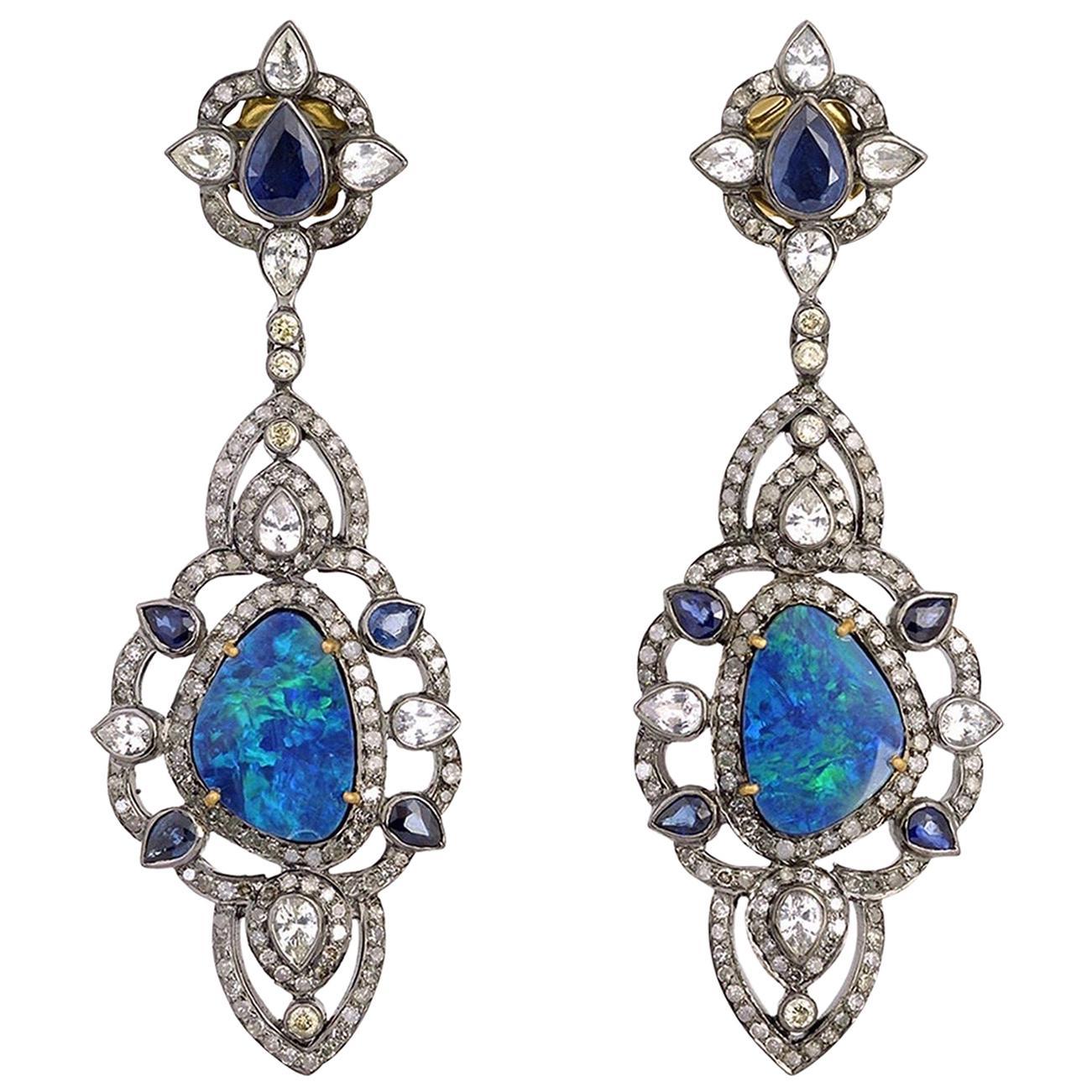 Opal Sapphire Diamond Drop Earrings