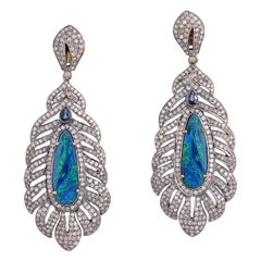 Opal Sapphire Diamond Feather Earrings