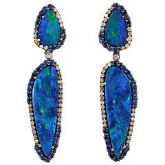 Opal Sapphire Diamond Earrings