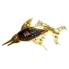 Opal, Sapphires, Emeralds and Diamonds in Gold 18 Carat Swordfish Brooch