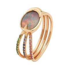 Opal, Sapphires, Tsavorites, 18 Karat Rose Gold, Shooting Star Ring