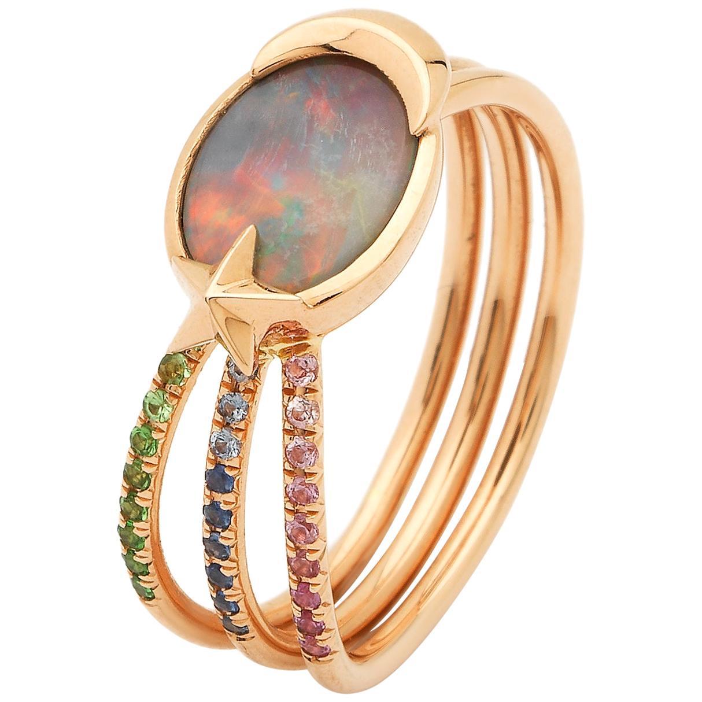 Opal with 18k gold, green tsavorites, purple amethyst shooting Star Ring