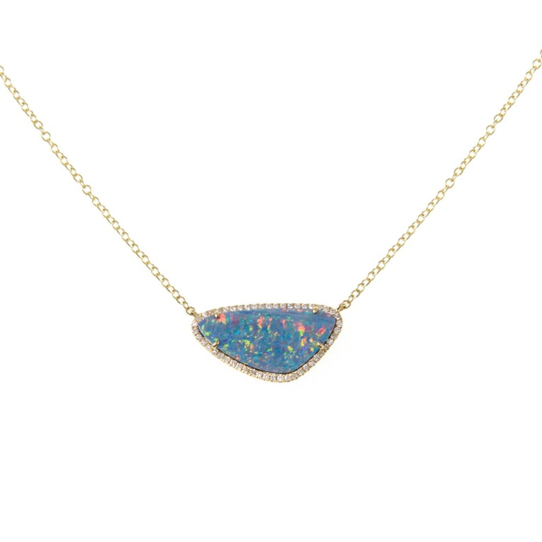 Opal Slice Gold Necklace