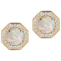 Goshwara Opal And Diamond Stud Earrings