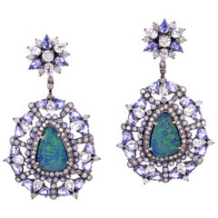 Opal Tanzanite Diamond Earrings