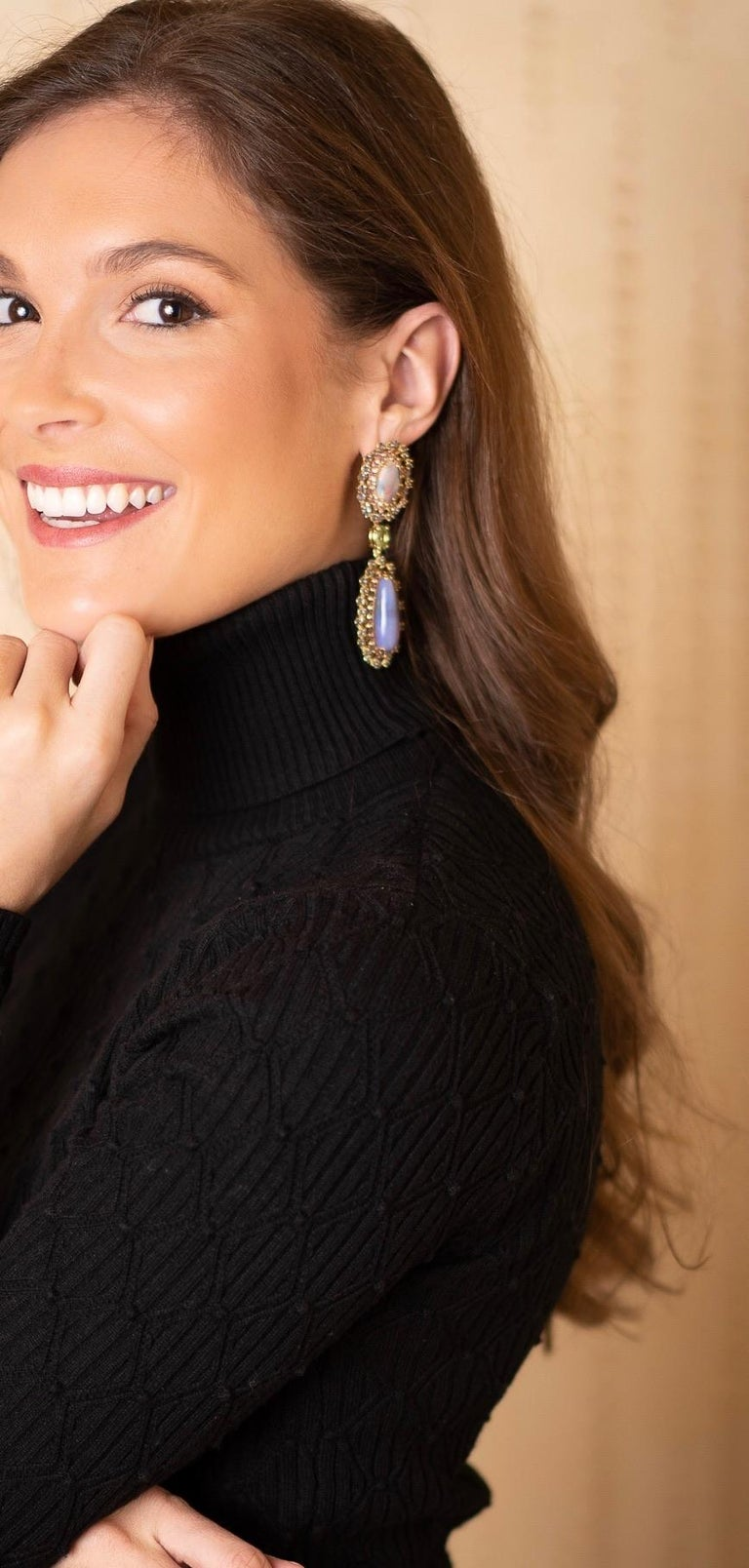 Contemporary Opal, Tourmaline and Multicolored Spinel Earrings by Andrew Glassford For Sale