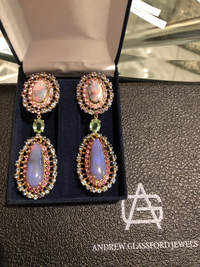 Opal, Tourmaline and Multicolored Spinel Earrings by Andrew Glassford In New Condition For Sale In Dallas, TX