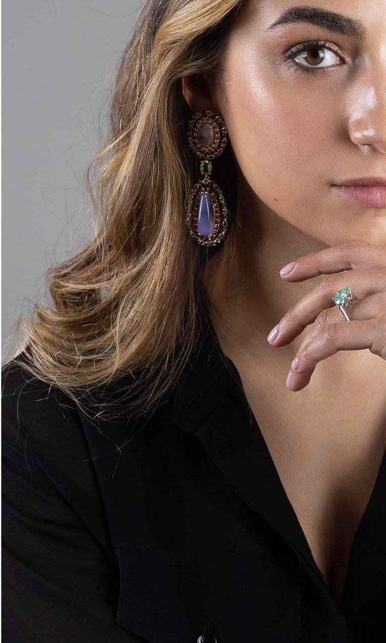 Women's Opal, Tourmaline and Multicolored Spinel Earrings by Andrew Glassford For Sale