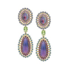 Opal, Tourmaline and Multicolored Spinel Earrings by Andrew Glassford