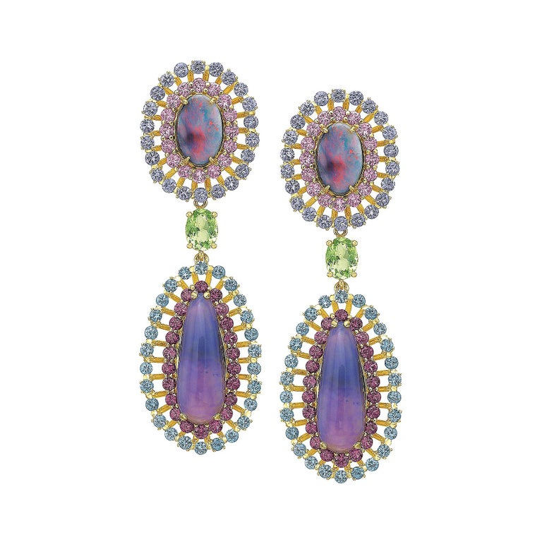 Opal, Tourmaline and Multicolored Spinel Earrings by Andrew Glassford For Sale