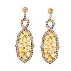 Opal Tsavorite Diamond Earrings Accented in 18 Karat Gold With Black Rhodium