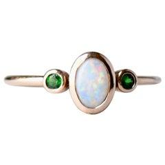 Opal Tsavorite Garnet Three Stone Ring