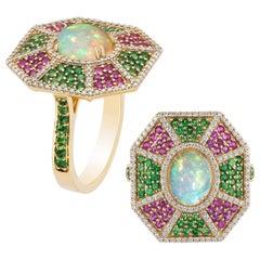 Goshwara Opal, Tsavorite, Pink Sapphire And Diamond Ring