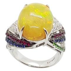 Opal, Tsavorite, Ruby, Blue Sapphire and Diamond Ring in 18 Karat White Gold