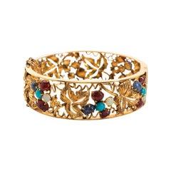 Opal, Turqoise and Gold Bangle-Bracelet