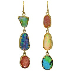 Opal, Turquoise and Sunstone 22-Karat Gold Asymmetrical Dangle Earrings