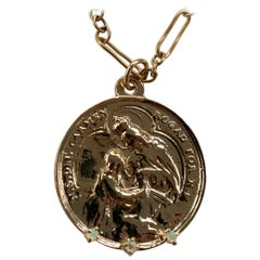 Medal Virgin Mary Opal Coin Pendant Chain Necklace Gold Filled  J Dauphin