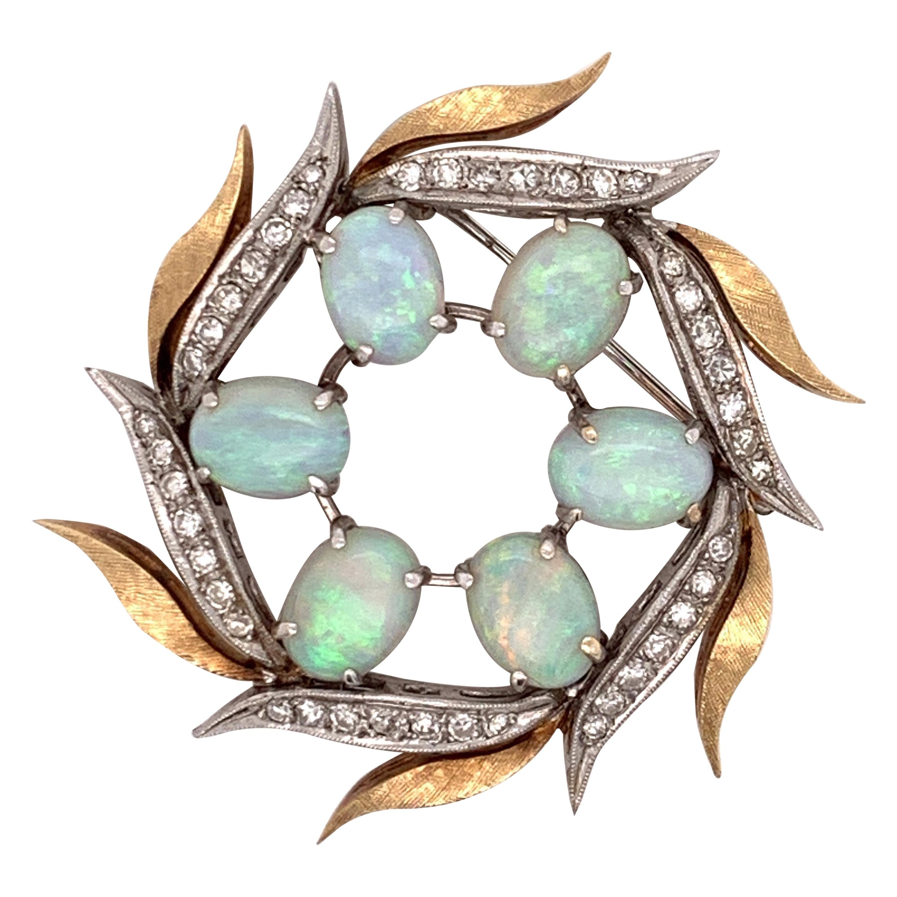 Opal Wreath Brooch with 0.5 Carat Diamonds Set in 14 Karat Yellow and White Gold