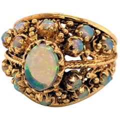 Opal Yellow Gold Dome Ring