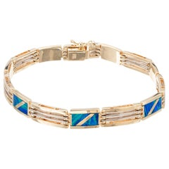 Opal Inlay Yellow White Gold Link Bracelet