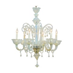 Opalene Murano Glass Midcentury Six-Light Chandelier with Scrolled Arms