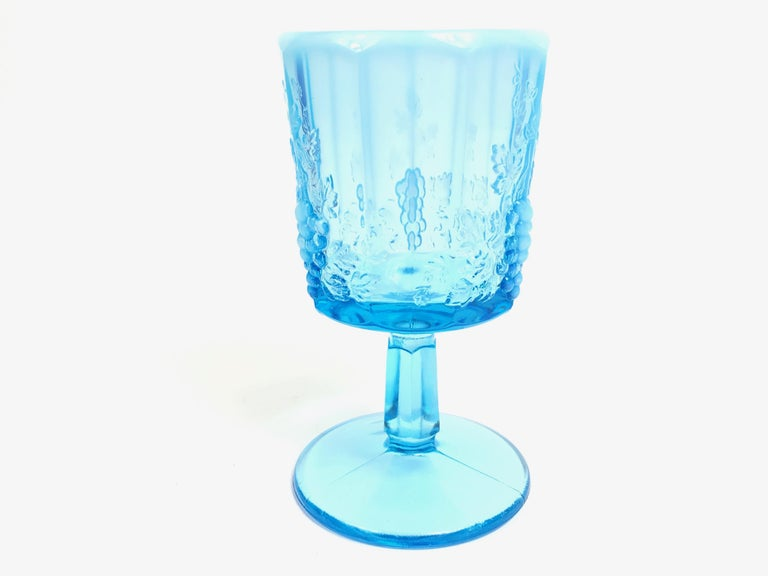 Opalescent Blue Glass Grape 10 Goblets and 8 Champagnes Set of 18 In Good Condition For Sale In Miami Beach, FL