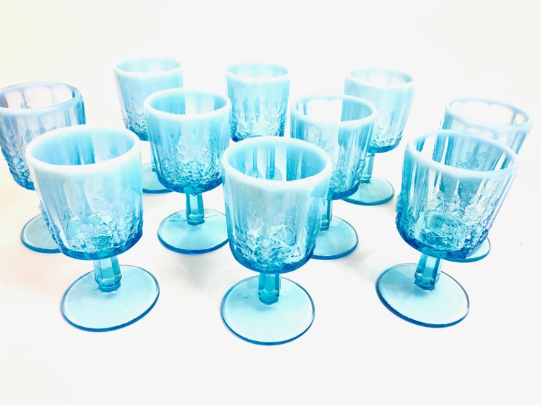 Opalescent Blue Glass Grape 10 Goblets and 8 Champagnes Set of 18 For Sale 4