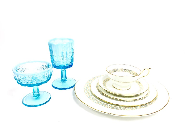 Opalescent Blue Glass Grape 10 Goblets and 8 Champagnes Set of 18 For Sale 5