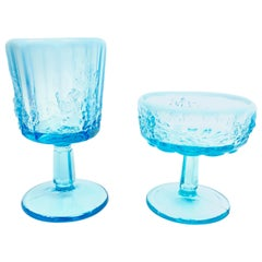 Opalescent Blue Glass Grape 10 Goblets and 8 Champagnes Set of 18