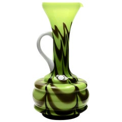 Opalescent Green and Brown Italian Opaline Pitcher from Florence