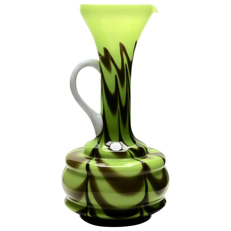 Opalescent Green and Brown Italian Opaline Pitcher from Florence For Sale