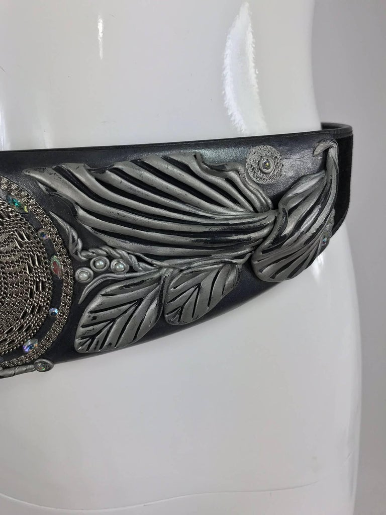 Black Opalescent jewel stone carved leather belt, 1980s For Sale