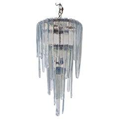 "Opalescent Murano Glass Chandelier Model ""Cascade"" by Carlo Nason for Mazzega"
